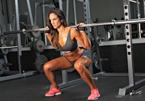 This is terible form. her knees are inside her feet, her stance is to wide, and her toes are pointed forward.shes shallow, meaning its all quads no glutes. IT looks like her boyfriend trains her and he learned shitty form in high school football